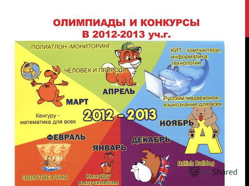 ОЛИМПИАДЫ И КОНКУРСЫ В 2012-2013 уч.г.