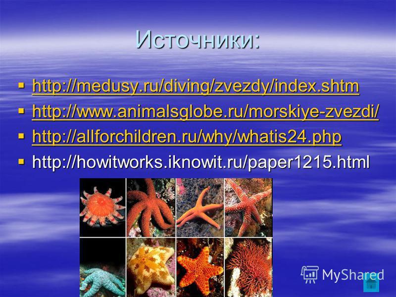 Источники: http://medusy.ru/diving/zvezdy/index.shtm http://medusy.ru/diving/zvezdy/index.shtm http://medusy.ru/diving/zvezdy/index.shtm http://www.animalsglobe.ru/morskiye-zvezdi/ http://www.animalsglobe.ru/morskiye-zvezdi/ http://www.animalsglobe.r