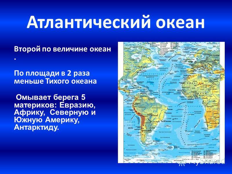 Атлантический океан Второй по величине океан. По площади в 2 раза меньше Тихого океана Омывает берега 5 материков: Евразию, Африку, Северную и Южную Америку, Антарктиду.