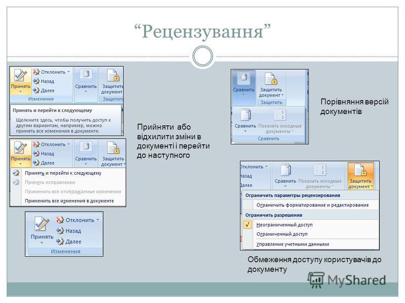 Рецензування Порівняння версій документів Обмеження доступу користувачів до документу Прийняти або відхилити зміни в документі і перейти до наступного