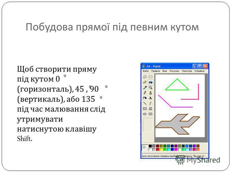 Щоб створити пряму під кутом 0 ( горизонталь ), 45, 90 ( вертикаль ), або 135 під час малювання слід утримувати натиснутою клавішу Shift. Побудова прямої під певним кутом 0 00 0