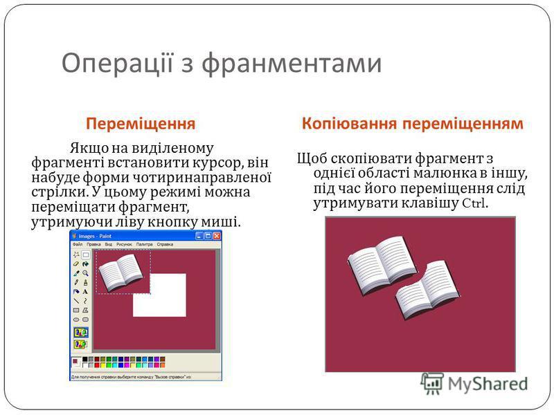 Копіювання переміщенням Якщо на виділеному фрагменті встановити курсор, він набуде форми чотиринаправленої стрілки. У цьому режимі можна переміщати фрагмент, утримуючи ліву кнопку миші. Щоб скопіювати фрагмент з однієї області малюнка в іншу, під час
