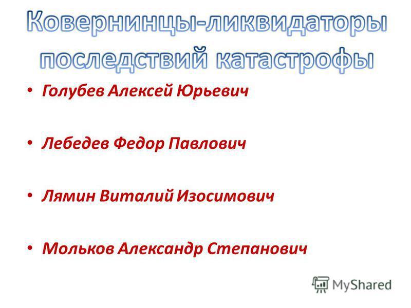 Голубев Алексей Юрьевич Лебедев Федор Павлович Лямин Виталий Изосимович Мольков Александр Степанович