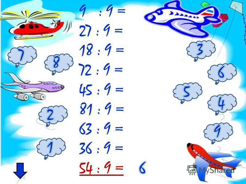 9 : 9 = 27 : 9 = 18 : 9 = 72 : 9 = 45 : 9 = 81 : 9 = 63 : 9 = 36 : 9 = 54 : 9 =