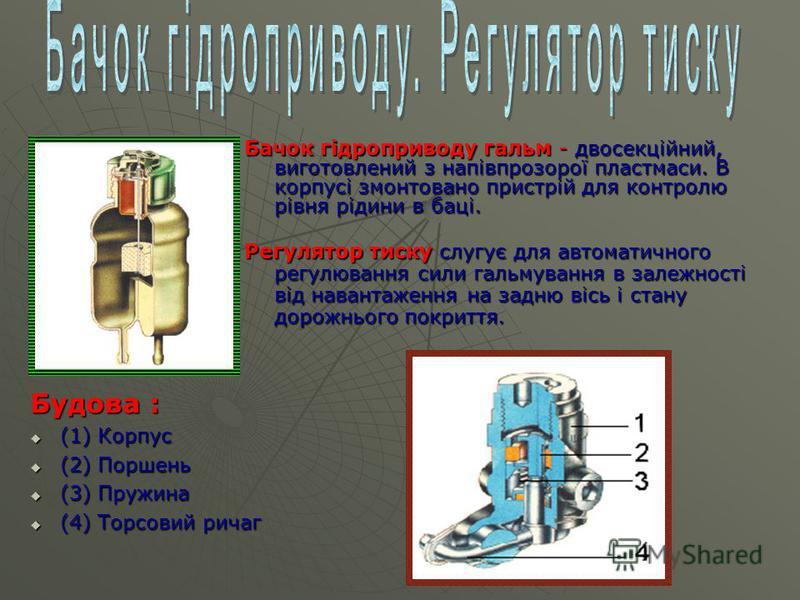 Бачок гідроприводу гальм - двосекційний, виготовлений з напівпрозорої пластмаси. В корпусі змонтовано пристрій для контролю рівня рідини в баці. Будова : (1) Корпус (1) Корпус (2) Поршень (2) Поршень (3) Пружина (3) Пружина (4) Торсовий ричаг (4) Тор