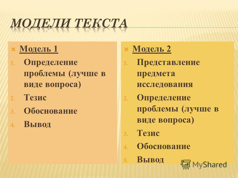 Модель 1 1. Определение проблемы (лучше в виде вопроса) 2. Тезис 3. Обоснование 4. Вывод Модель 2 1. Представление предмета исследования 2. Определение проблемы (лучше в виде вопроса) 3. Тезис 4. Обоснование 5. Вывод