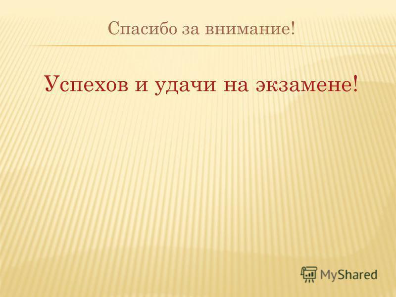 Спасибо за внимание! Успехов и удачи на экзамене!