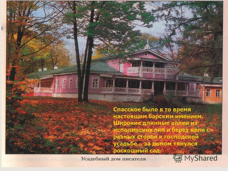 Спасское было в то время настоящим барским имением. Широкие длинные аллеи из исполинских лип и берез вели с разных сторон к господской усадьбе… за домом тянулся роскошный сад.