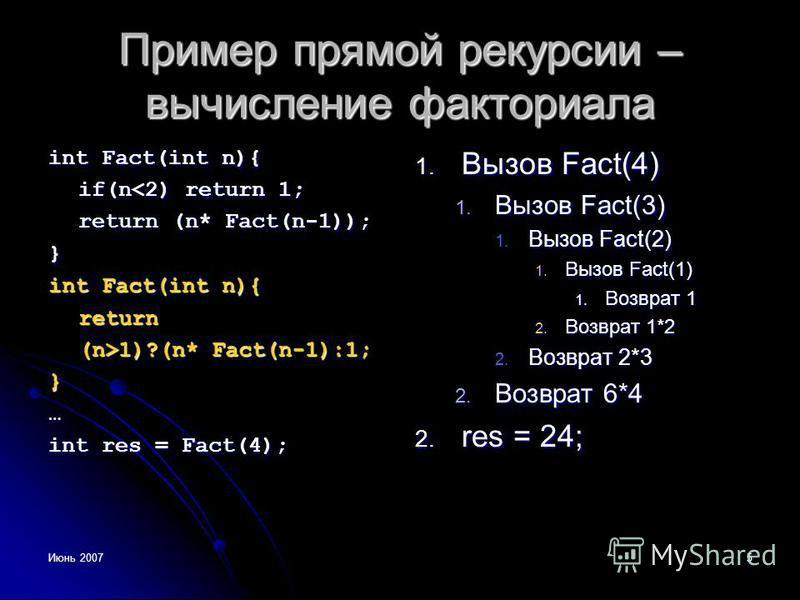 Июнь 20075 Пример прямой рекурсии – вычисление факториала int Fact(int n){ if(n<2) return 1; return (n* Fact(n-1)); } int Fact(int n){ return (n>1)?(n* Fact(n-1):1; }… int res = Fact(4); 1. Вызов Fact(4) 1. Вызов Fact(3) 1. Вызов Fact(2) 1. Вызов Fac