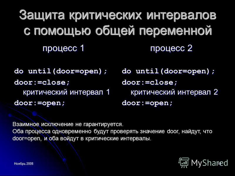 Ноябрь 200818 Защита критических интервалов с помощью общей переменной процесс 1 do until(door=open); door:=close; критический интервал 1 door:=open; процесс 2 do until(door=open); door:=close; критический интервал 2 door:=open; Взаимное исключение н