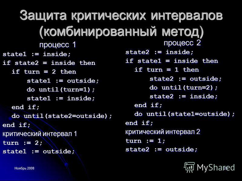 Ноябрь 200825 Защита критических интервалов (комбинированный метод) процесс 1 state1 := inside; if state2 = inside then if turn = 2 then state1 := outside; do until(turn=1); state1 := inside; end if; do until(state2=outside); end if; критический инте