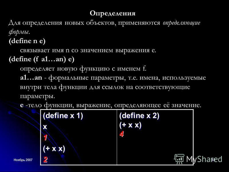 Ноябрь 200761 Определения Для определения новых объектов, применяются определяющие формы. (define n e) связывает имя n со значением выражения e. (define (f a1…an) e) определяет новую функцию с именем f. a1…an - формальные параметры, т.е. имена, испол