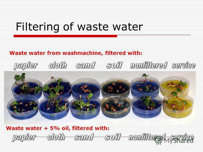 Filtering of waste water Waste water from washmachine, filtered with: Waste water + 5% oil, filtered with: