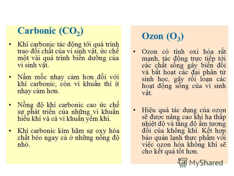 Carbonic (CO 2 ) Khí carbonic tác đng ti quá trình trao đi cht ca vi sinh vt, c ch mt vài quá trình bin dưng ca vi sinh vt. Nm mc nhy cm hơn đi vi khí carbonic, còn vi khun thí ít nhy cm hơn. Nng đ khí carbonic cao c ch s phát trin ca nhng vi khun hi
