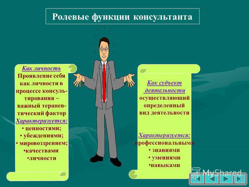 Ролевые функции консультанта Как личность Проявление себя как личности в процессе консультирования – важный терапевтический фактор Характеризуется: ценностями; убеждениями; мировоззрением; качествами личности Как субъект деятельности осуществляющий о