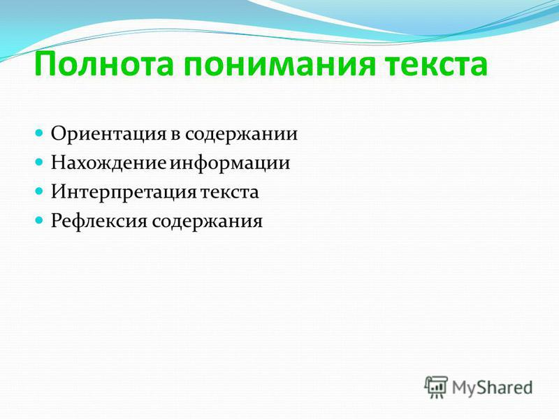 Полнота понимания текста Ориентация в содержании Нахождение информации Интерпретация текста Рефлексия содержания