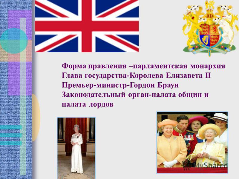 Форма правления –парламентская монархия Глава государства-Королева Елизавета II Премьер-министр-Гордон Браун Законодательный орган-палата общин и палата лордов