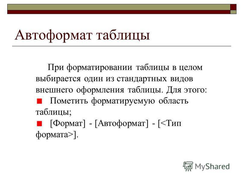 Автоформат таблицы При форматировании таблицы в целом выбирается один из стандартных видов внешнего оформления таблицы. Для этого: Пометить форматируемую область таблицы; [Формат] - [Автоформат] - [ ].