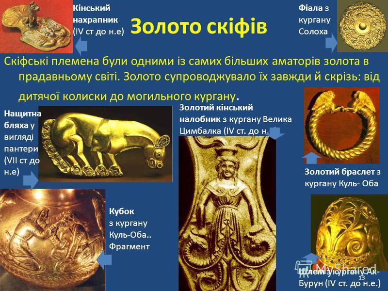 13 Золото скіфів Скіфські племена були одними із самих більших аматорів золота в прадавньому світі. Золото супроводжувало їх завжди й скрізь: від дитячої колиски до могильного кургану. Шлем з кургану Ак- Бурун (IV ст. до н.е.) Фіала з кургану Солоха