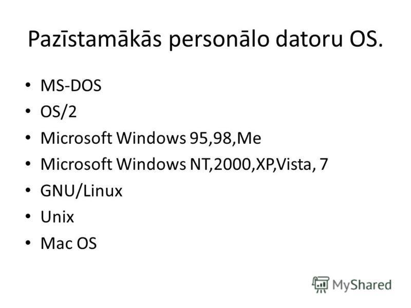 Pazīstamākās personālo datoru OS. MS-DOS OS/2 Microsoft Windows 95,98,Me Microsoft Windows NT,2000,XP,Vista, 7 GNU/Linux Unix Mac OS