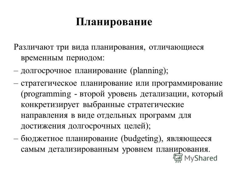 Планирование Различают три вида планирования, отличающиеся временным периодом: –долгосрочное планирование (planning); –стратегическое планирование или программирование (programming - второй уровень детализации, который конкретизирует выбранные страте