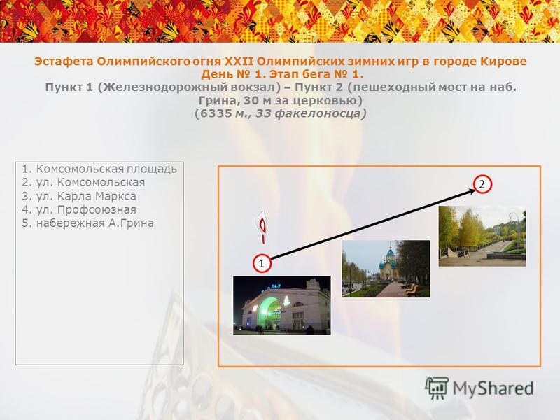 Эстафета Олимпийского огня XXII Олимпийских зимних игр в городе Кирове День 1. Этап бега 1. Пункт 1 (Железнодорожный вокзал) – Пункт 2 (пешеходный мост на наб. Грина, 30 м за церковью) (6335 м., 33 факелоносца) 1. Комсомольская площадь 2. ул. Комсомо
