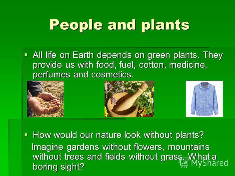 People and plants All life on Earth depends on green plants. They provide us with food, fuel, cotton, medicine, perfumes and cosmetics. All life on Earth depends on green plants. They provide us with food, fuel, cotton, medicine, perfumes and cosmeti