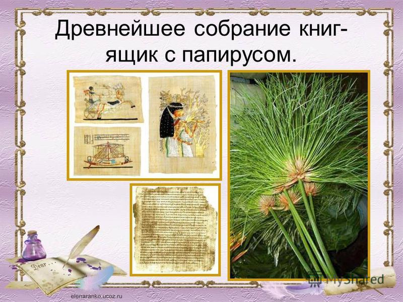 Древнейшее собрание книг- ящик с папирусом.