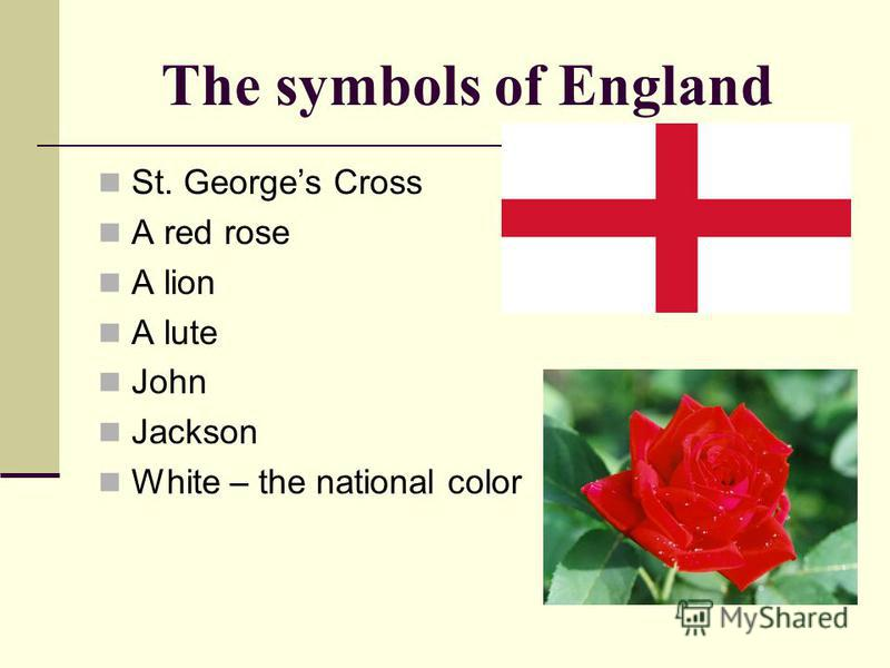The symbols of England St. Georges Cross A red rose A lion A lute John Jackson White – the national color
