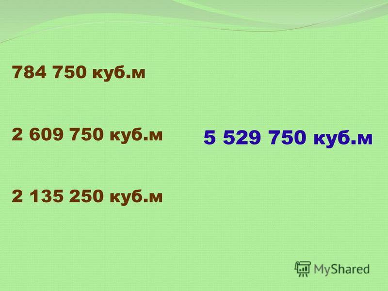 784 750 куб.м 2 609 750 куб.м 2 135 250 куб.м 5 529 750 куб.м