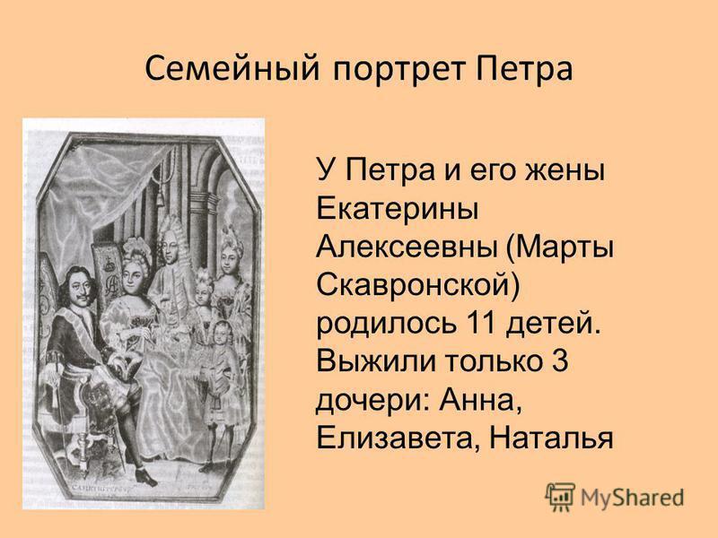 Семейный портрет Петра У Петра и его жены Екатерины Алексеевны (Марты Скавронской) родилось 11 детей. Выжили только 3 дочери: Анна, Елизавета, Наталья