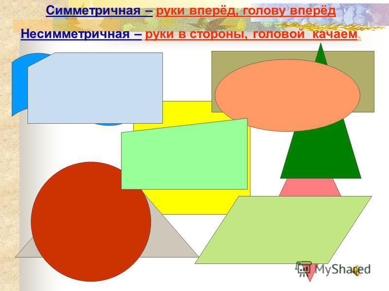 Фигура Количество осей Прямоугольник Четырёхугольник 1 Квадрат Круг Четырёхугольник 2 Прямоугольный треугольник Равносторонний треугольник Равнобедренный треугольник Правильный шестиугольник