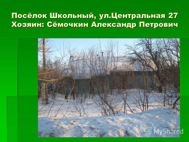 Посёлок Школьный, ул.Центральная 27 Хозяин: Сёмочкин Александр Петрович