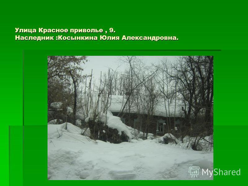 Улица Красное приволье, 9. Наследник :Косынкина Юлия Александровна.
