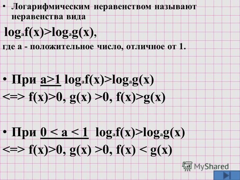 Л огарифмическим неравенством называют неравенства вида log a f(x)>log a g(x), где а - положительное число, отличное от 1. П ри а>1 log a f(x)>log a g(x) <=> f(x)>0, g(x) >0, f(x)>g(x) П ри 0 < а < 1 log a f(x)>log a g(x) <=> f(x)>0, g(x) >0, f(x) <