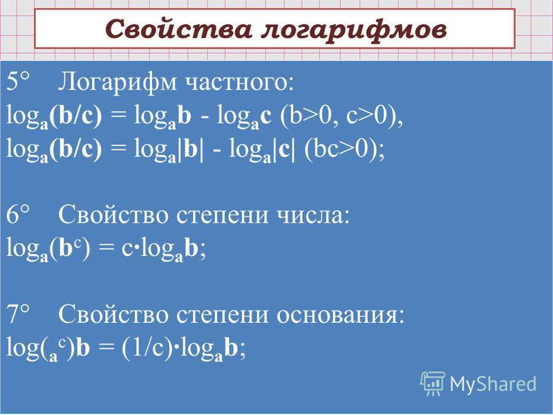 Свойства логарифмов 5° Логарифм частного: log a (b/c) = log a b - log a c (b>0, c>0), log a (b/c) = log a |b| - log a |c| (bc>0); 6° Свойство степени числа: log a (b c ) = c·log a b; 7° Свойство степени основания: log( a c )b = (1/c)·log a b;