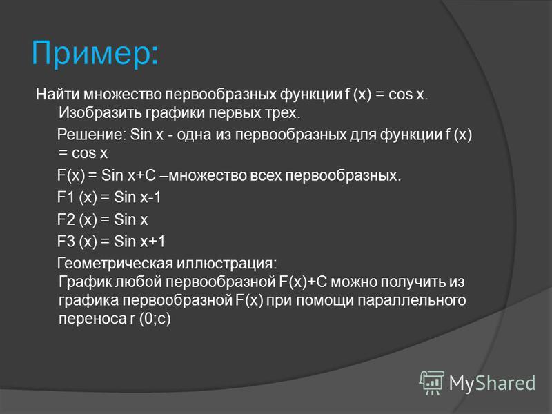 Пример: Найти множество первообразных функции f (х) = cos х. Изобразить графики первых трех. Решение: Sin х - одна из первообразных для функции f (х) = cos х F(х) = Sin х+С –множество всех первообразных. F1 (х) = Sin х-1 F2 (х) = Sin х F3 (х) = Sin х