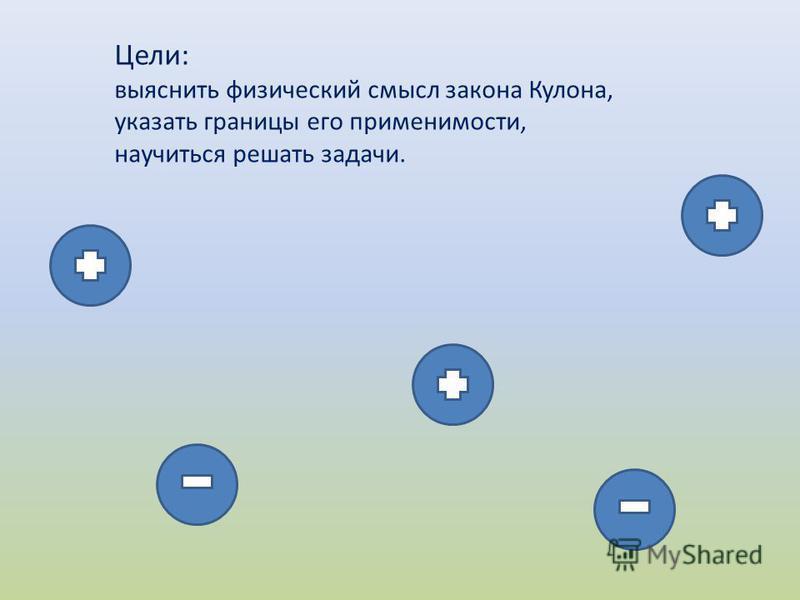 Цели: выяснить физический смысл закона Кулона, указать границы его применимости, научиться решать задачи.