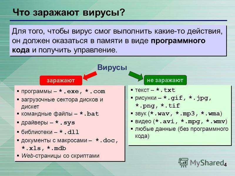 4 Что заражают вирусы? Вирусы программы – *. exe, *. com загрузочные сектора дисков и дискет командные файлы – *.bat драйверы – *. sys библиотеки – *. dll документы с макросами – *.doc, *.xls, *.mdb Web-страницы со скриптами программы – *. exe, *. co