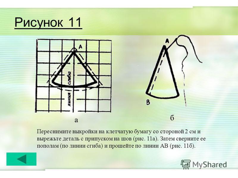 Рисунок 11 Переснимите выкройки на клетчатую бумагу со стороной 2 см и вырежьте деталь с припуском на шов (рис. 11 а). Затем сверните ее пополам (по линии сгиба) и прошейте по линии АВ (рис. 11 б). а б