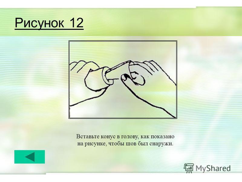Рисунок 12 Вставьте конус в голову, как показано на рисунке, чтобы шов был снаружи.