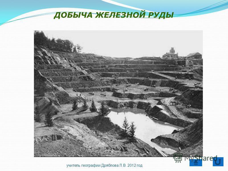 ДОБЫЧА ЖЕЛЕЗНОЙ РУДЫ учитель географии Дряблова Л.В. 2012 год