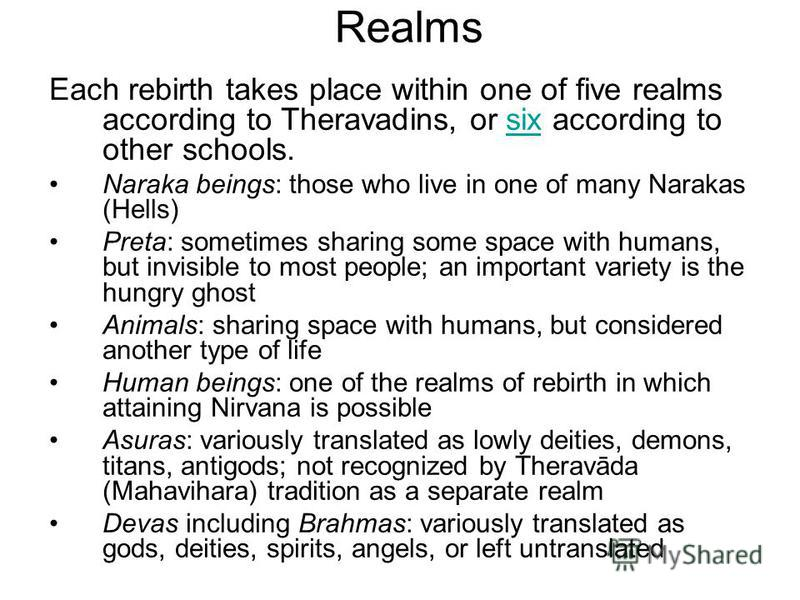 Realms Each rebirth takes place within one of five realms according to Theravadins, or six according to other schools.six Naraka beings: those who live in one of many Narakas (Hells) Preta: sometimes sharing some space with humans, but invisible to m