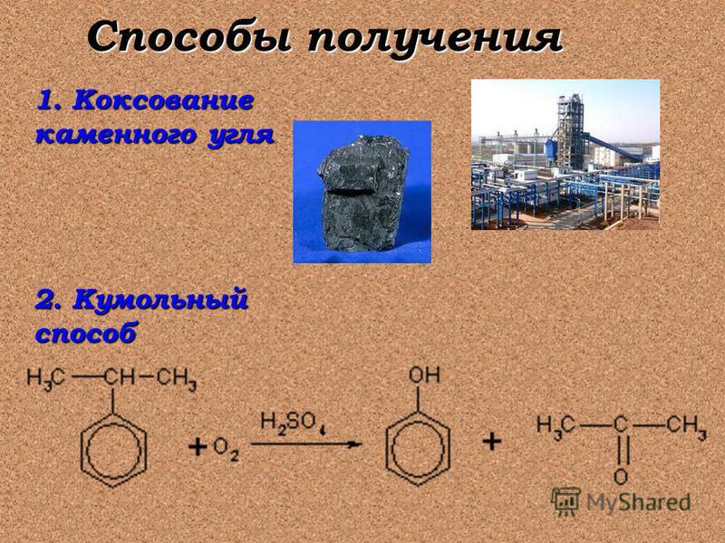 1. Коксование каменного угля 2. Кумольный способ Способы получения