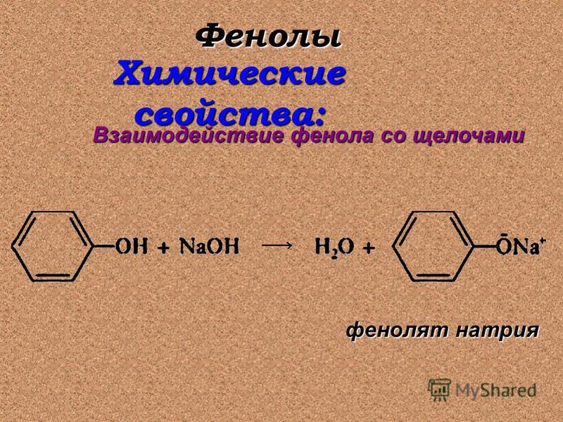 Фенолы Химические свойства: Взаимодействие фенола со щелочами фенолят натрия