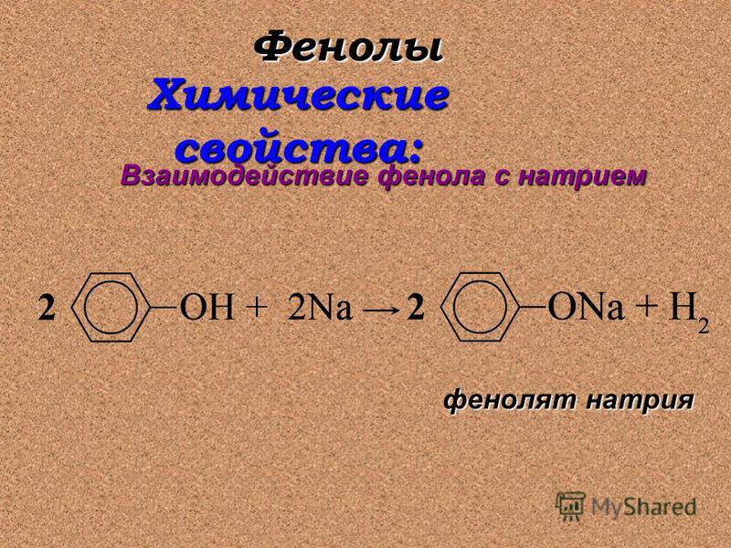 Фенолы Химические свойства: Взаимодействие фенола с натрием фенолят натрия