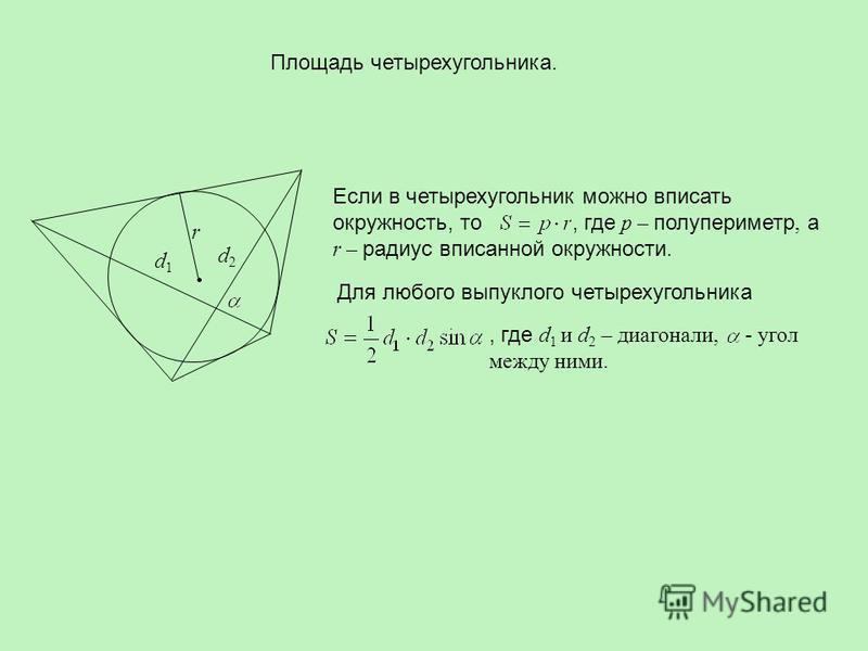Площадь четырехугольника. Если в четырехугольник можно вписать окружность, то, где p – полупериметр, а r – радиус вписанной окружности. Для любого выпуклого четырехугольника, где d 1 и d 2 – диагонали, - угол между ними. d1d1 d2d2 r