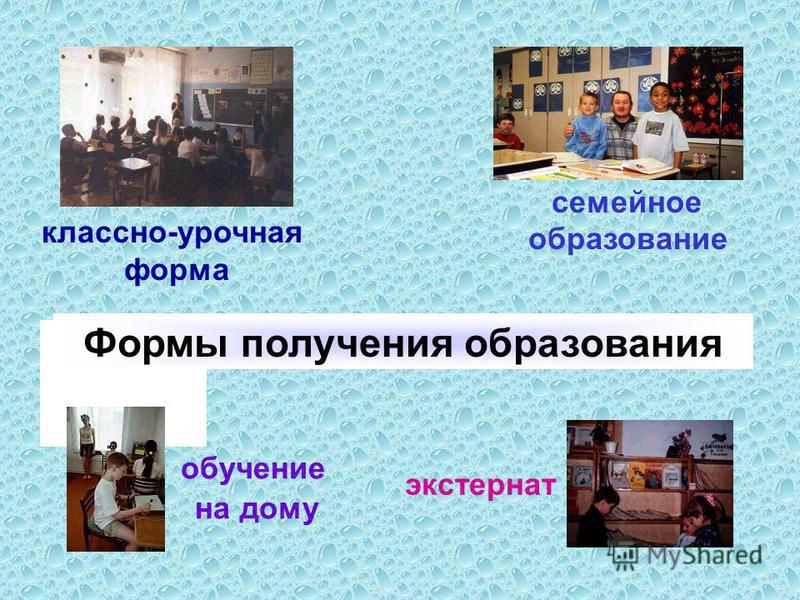 Формы получения образования классно-урочная форма обучение на дому семейное образование экстернат