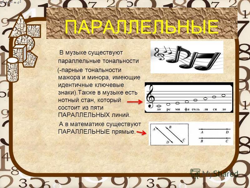 . ПАРАЛЛЕЛЬНЫЕ В музыке существуют параллельные тональности (-парные тональности мажора и минора, имеющие идентичные ключевые знаки).Также в музыке есть нотный стан, который состоит из пяти ПАРАЛЛЕЛЬНЫХ линий. А в математике существуют ПАРАЛЛЕЛЬНЫЕ п