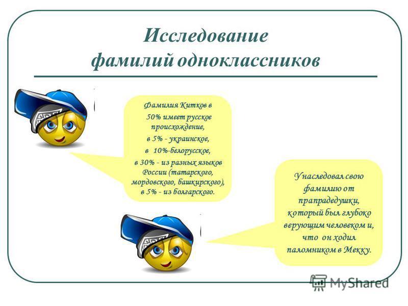 Исследование фамилий одноклассников Фамилия Китков в 50% имеет русское происхождение, в 5% - украинское, в 10%-белорусское, в 30% - из разных языков России (татарского, мордовского, башкирского), в 5% - из болгарского. Унаследовал свою фамилию от пра